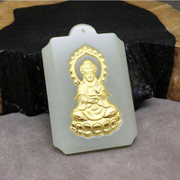 fine jewelry Hetian 24k gold jade inlay guanyin necklaces fashion charm pendant for lovers gifts