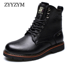 ZYYZYM Men Motorcycle Boots Winter Lace Up Style Cow Leather Ankle Snow Keep Warm Men Military Boots High Quality цена 2017