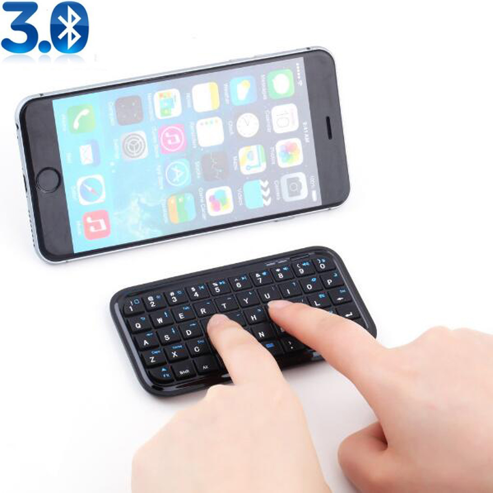 black mini wireless bluetooth keyboard for iphone 4 0 5 0 os pcpda ipad samsung android smart. Black Bedroom Furniture Sets. Home Design Ideas
