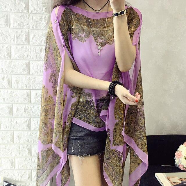 Модный цветочный шифоновая женская блузка сезон: весна–лето Стиль пляжная одежда элегантная шифоновая с цветочным принтом свободную рубашку 6Q0456