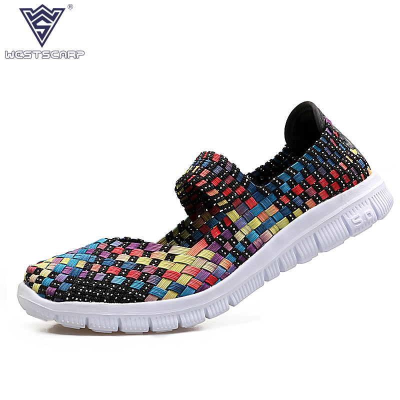 WEST SCARP 2018 Fashion Women Casual Shoes Summer Breathable Flats Shoes Woman, Handmade Supper Light Sapato Mujer Size 35-40 agutzm women woven shoes 2018 summer breathable handmade shoes fashion comfortable women flats casual shoes sandals v15
