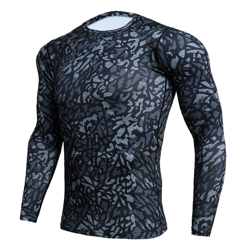 Compression Sport Shirt Men Long Sleeve Camouflage Fitness 3D Quick Dry Men's Running T-shirt Gym Workout Clothing Top Rashgard 5