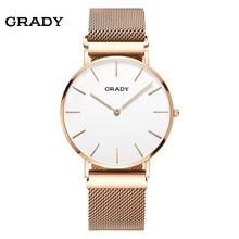 2018 Grady mens fashion top brand sapphire luxury sport quartz watch waterproof  couple gold watch Magnetic strap Free Shipping