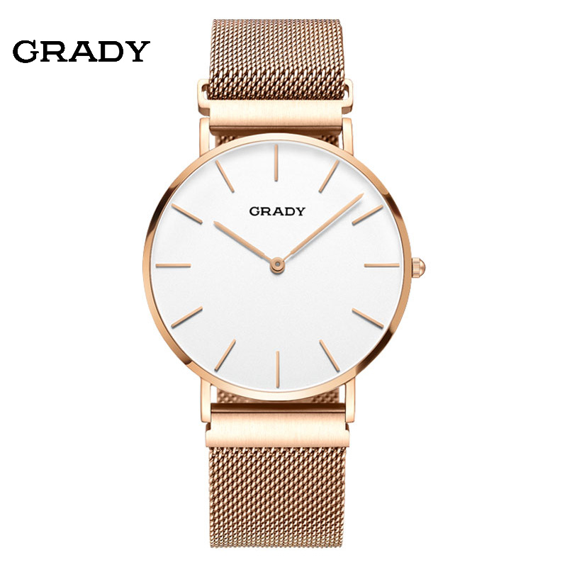 2018 Grady mens fashion top brand sapphire luxury sport quartz watch waterproof couple gold watch Magnetic strap Free Shipping grady fashion gold watch women gold face women watches 3 colors quartz watch free shipping