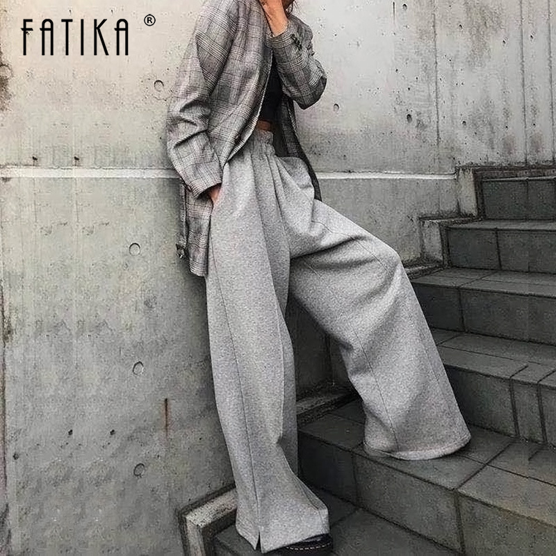 FATIKA Autumn Winter Women Loose Casual Long   Pants   New 2019 Elastic Waist Fashion Thick   Wide     Leg     Pants   Stylish Trousers