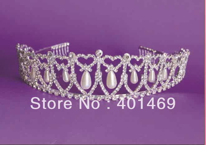 Hot Diana royal bridal wedding silver rhinestone pearls hair crown tiara headwear ornament fashion jewelry accessories free ship