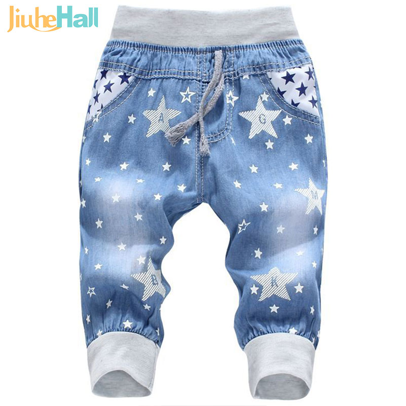 Hot Sale! 2016 New Kids Jeans Elastic Waist Straight Bear Pattern Denim Seventh Pants Retail Boy Jeans For 2-5 Years WB142