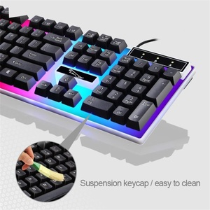 Image 4 - السلكية USB ضوء الماوس ولوحة المفاتيح تعيين الكمبيوتر الميكانيكية يشعر الخلفية لوحة المفاتيح