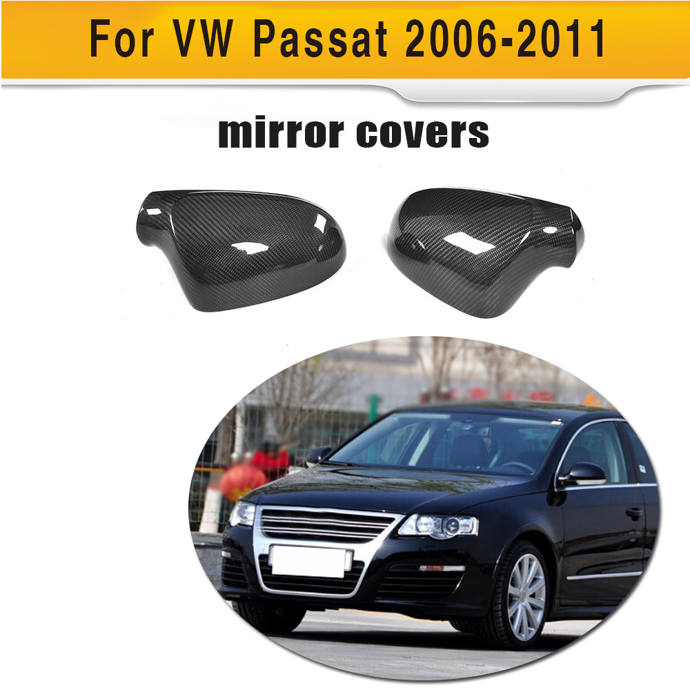 Carbon Fiber replacement Side Rearview Mirror Covers Shell for Volkswagen VW Passat R36 2006 - 2011 without side assist abs mirror cover chrome matt painted cap side mirror housings for volkswagen jetta golf 5 passat b6 ct
