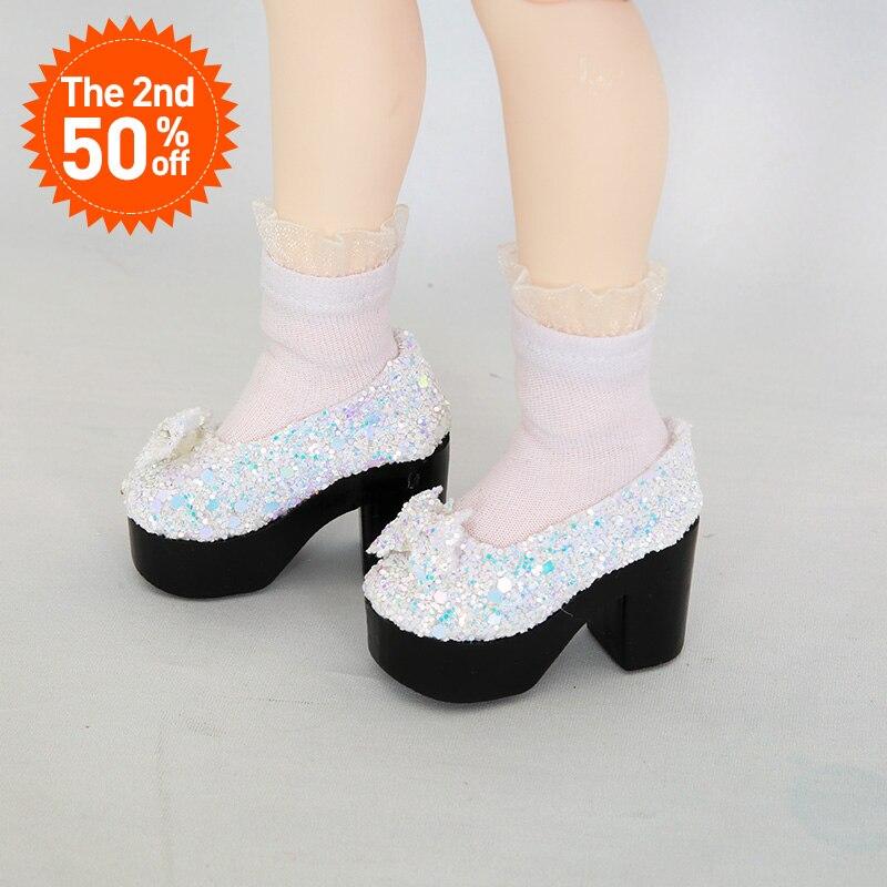 BJD Shoes 1/4 High-heeled shoes white colors Shoes For IP MSD BJD Dolls WX4-03 Length 5.5cm width 2.7cm Doll Accessories js 081 bjd shoes pu shoes sd msd doll shoe factory sales directly