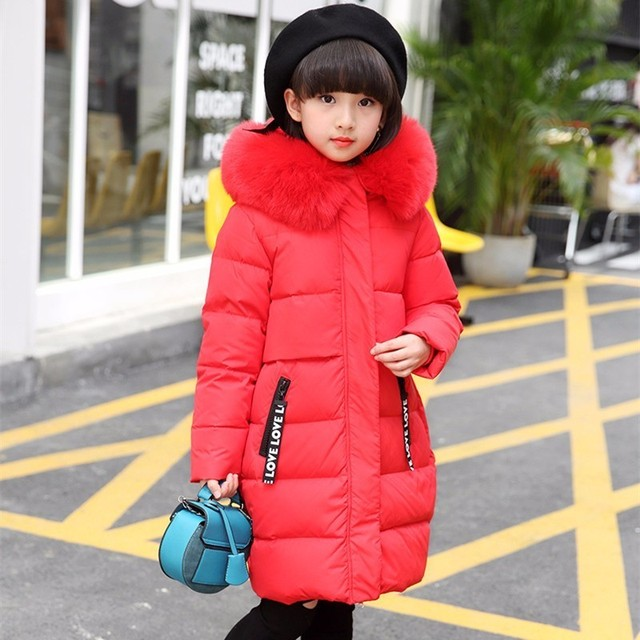 2018 Long Girls coat kids winter jackets thick duck down Warm jacket Children Outerwear for Girl clothes parka enfant -30 degree