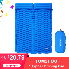 TOMSHOO Double Sleeping Pad 2 Person Ultra-light Portable Mattress Inflatable Mat Camping Mat Outdoor With Pillow