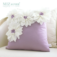 Miz Home Ssisi Series Desined Europe Style Modern Purple Flower Decorative Pillow Cushion Flower Snow Shape