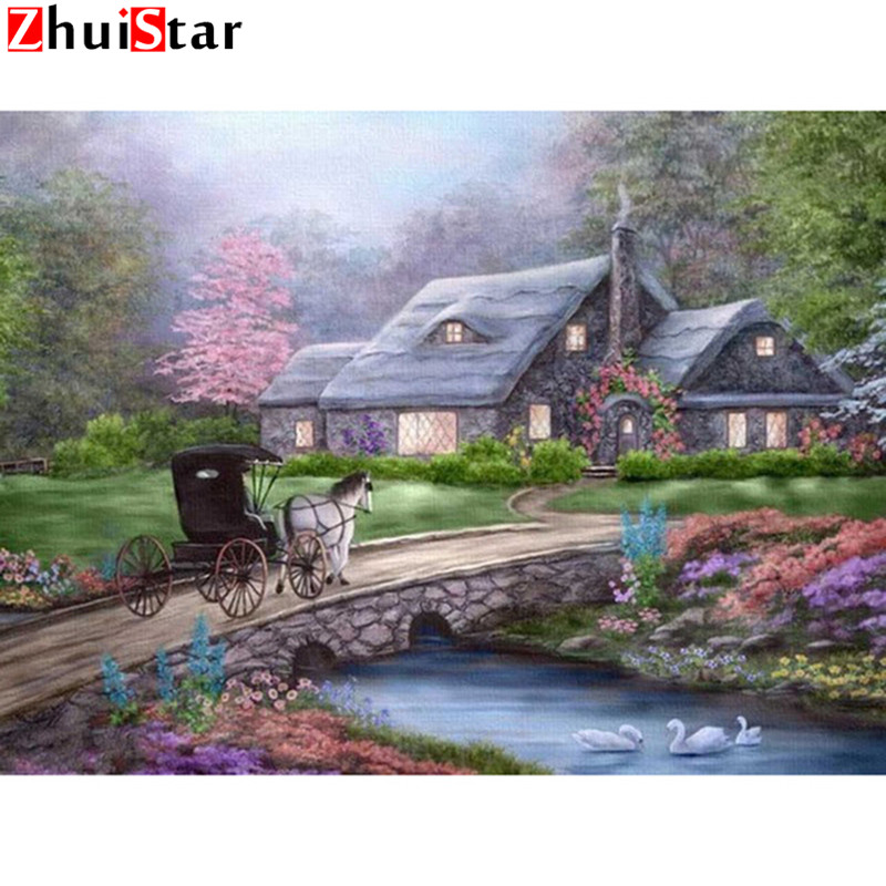 Diamond Painting Landscape Cross Stitch Needlework Home Decorative 5D DIY Diamond Painting horse scenery Crystal XY1
