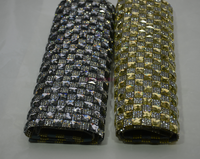sticker on Crystal Stones hot Fix Rhinestone Mesh Trimming Pasted patches for clothes bag shoes parches para la ropa