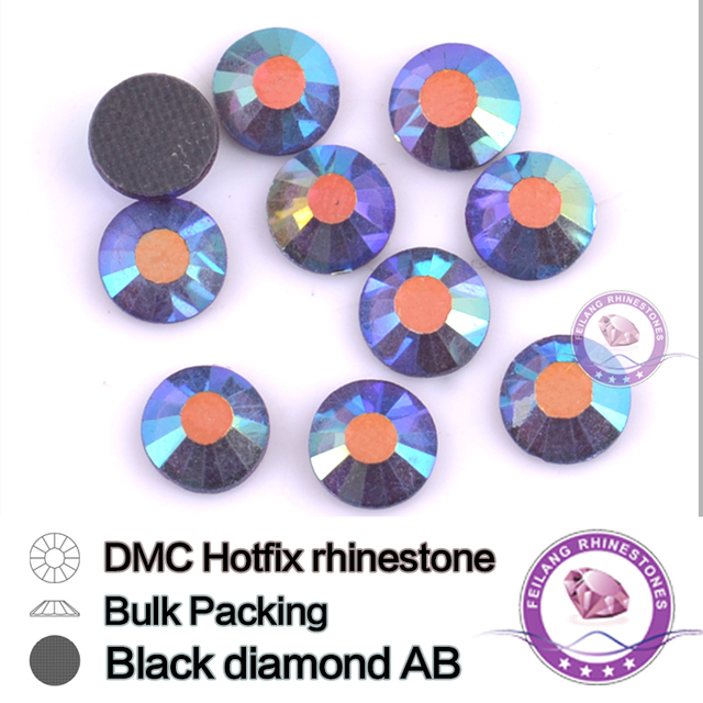 Black Diamond AB SS16 SS20 SS30 Bulking Packing HotFix Rhinestone For Garments Bags And Shoes
