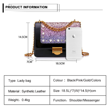 Luxury Women Square Shoulder Bags Chains Strap Sling Bags Phone Case Clutch Sequins Bags with Hook 1