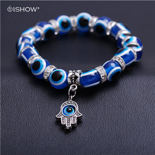 Pulseras Mujer Blue Fatima Hand Evil Eye Bracelet Femme Charm Beads Bracelets For Women Men Stone