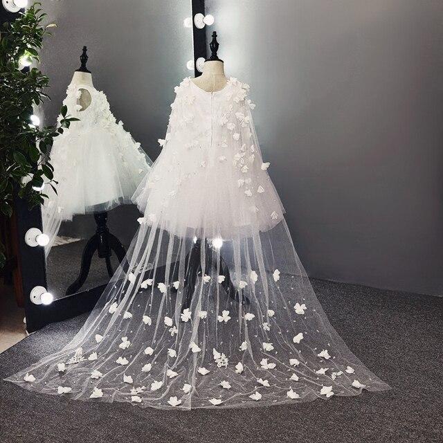 Новинка 2017 года белый Кружево шлейфом бальное платье Платья для девочек на свадьбу платья для первого причастия для девочек платья для Причастия платье принцессы