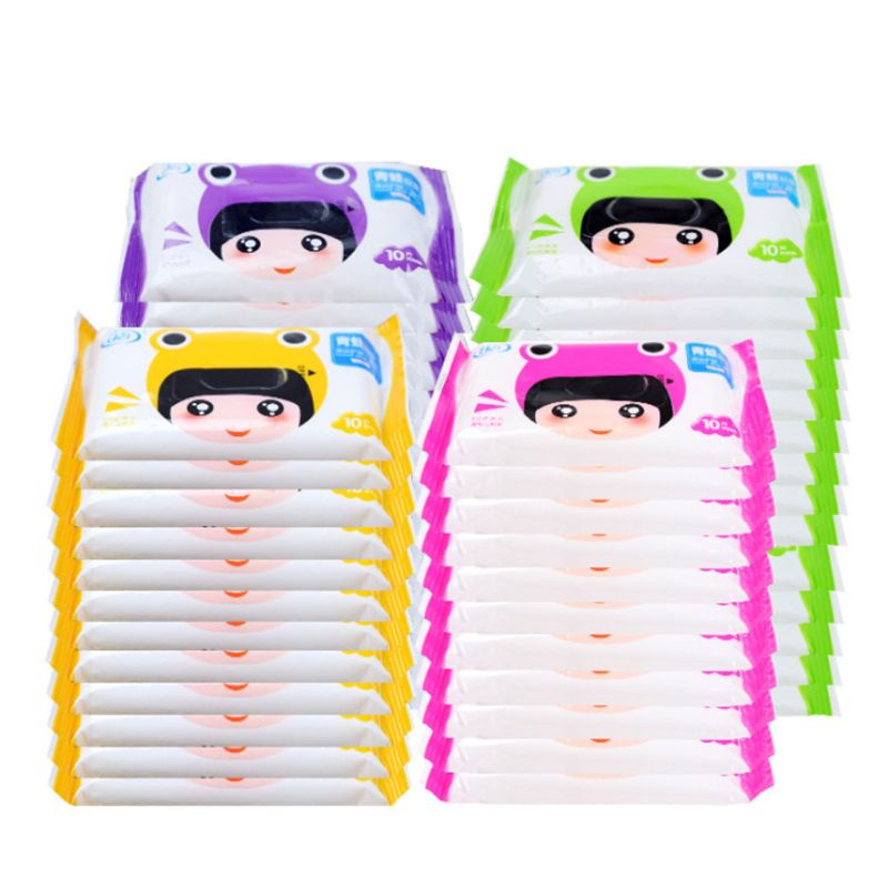 10Pcs/Bag Disposable Spunlace Adult Baby Wet Wipes Cute Cartoon Frog Girl Travel Portable Kids Tissues Unscented Moisturizing