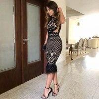 Adyce 2018 New Summer Bandage Dress Women Elegant Black Lace Sleeveless Sexy Feather Bodycon Club Dress Celebrity Party Dresses