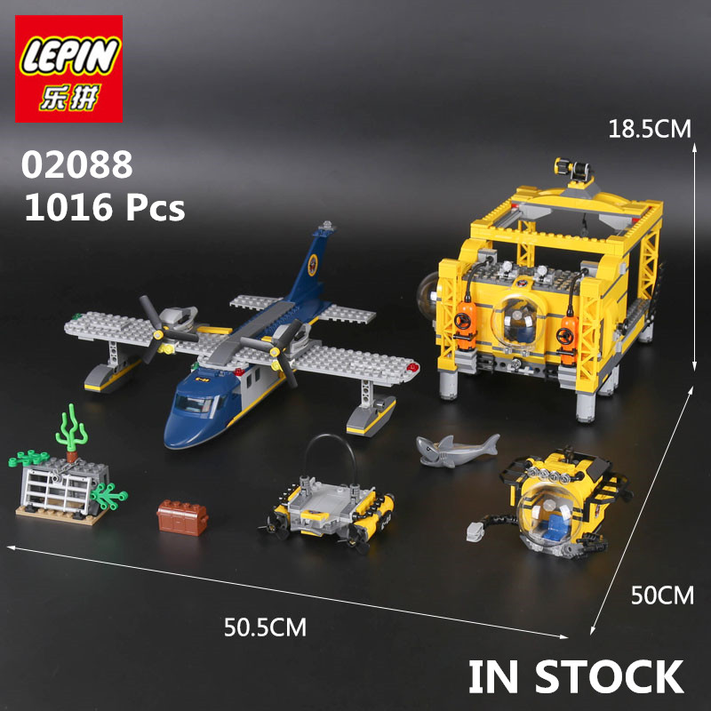 IN STOCK Genuine LEPIN 02088 1016 Pcs City Series The Deep Sea Opearation Base Set 60096 Building Blocks Bricks children Gift model building blocks toys 02088 deep sea opearation base compatible with lego city series 60096 educational diy toys