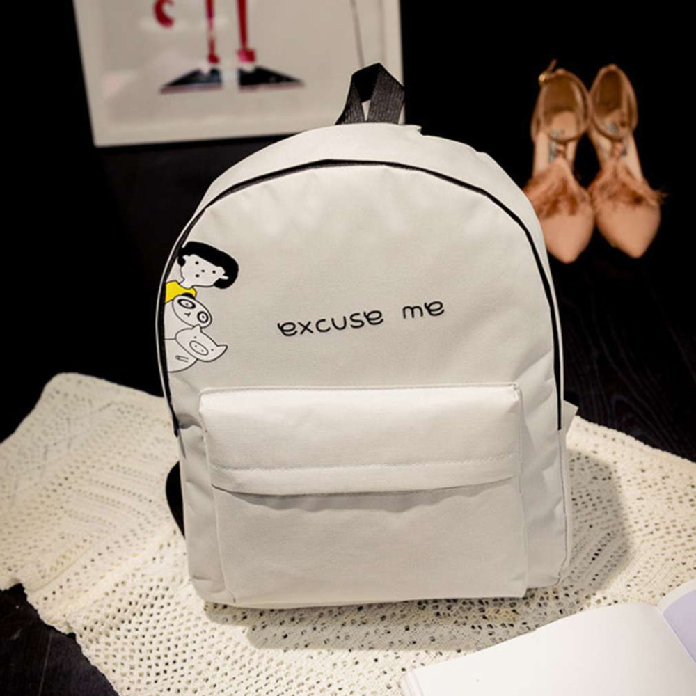 Fashion Hot Sale Stylish Women'S Canvas Backpack Excuse Me School Bag Lady'S Travel Satchel Cute Bag For Girls 2016 Hot Sale