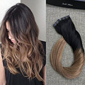Full Shine 20 Pcs Per Pack Brazil Balayage Remy Real Human Tape Hair Extensions Ombre Color #1B#10  Extensiones De Cinta Humanas
