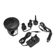 цена на EU/US/UK Plug Inflatable Pump Electric Air Mattress Camping Pump Electropump with 3 Nozzles Portable Quick Filling For Car Use
