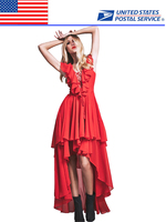 Red Carpet Ruffles Women's Pageant Evening Party Prom Gown High Low Dress Pleats Vestidos De Fiesta