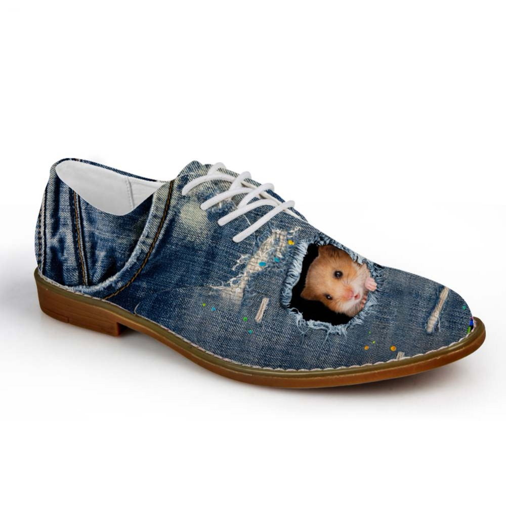 Noisydesigns Boys Oxford Shoe Denim Color cute little animal Print - Men's Shoes - Photo 3