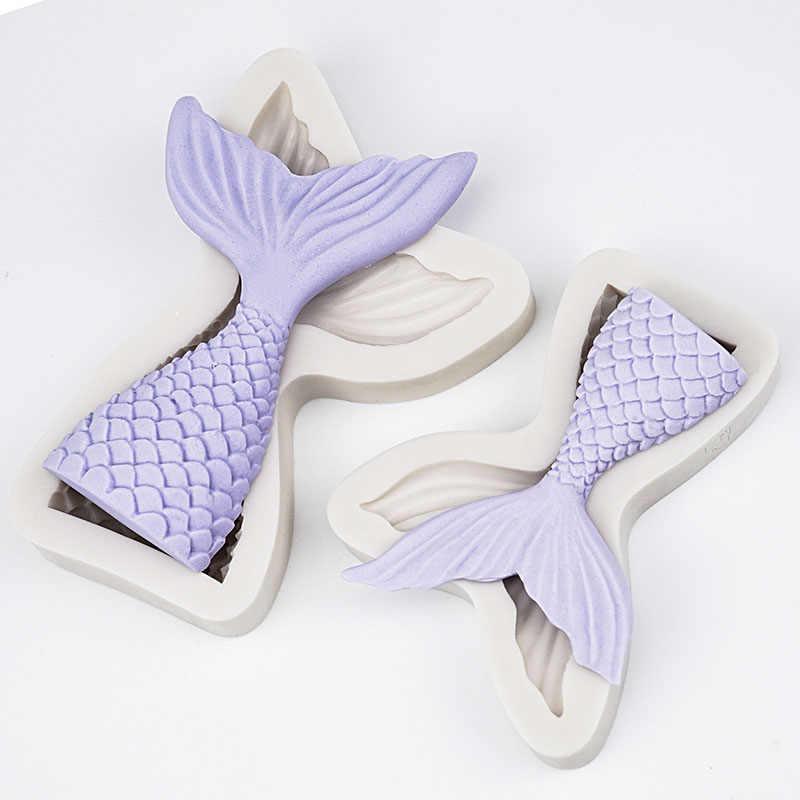 3D Mermaid Tail Cake Silicone Mold Sea Shell Starfish Fondant Molds Cake Decorating Tools Sugar Craft Chocolate Mold Baking Tool
