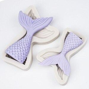Image 2 - 3D denizkızı kuyruğu kek silikon kalıp deniz kabuğu denizyıldızı fondan kalıpları kek dekorasyon araçları şeker zanaat çikolata kalıp pişirme aracı