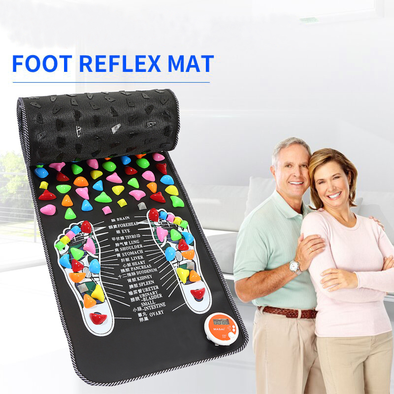 Reflexology Stone Foot Acupressure Massage Mat Pain Relief Feet Walk Massager Walk Stone Foot Massage Mat Pad Foot Spa Massager natural stone cobblestone foot massage pad foot massage device stone pad blanket mat plate