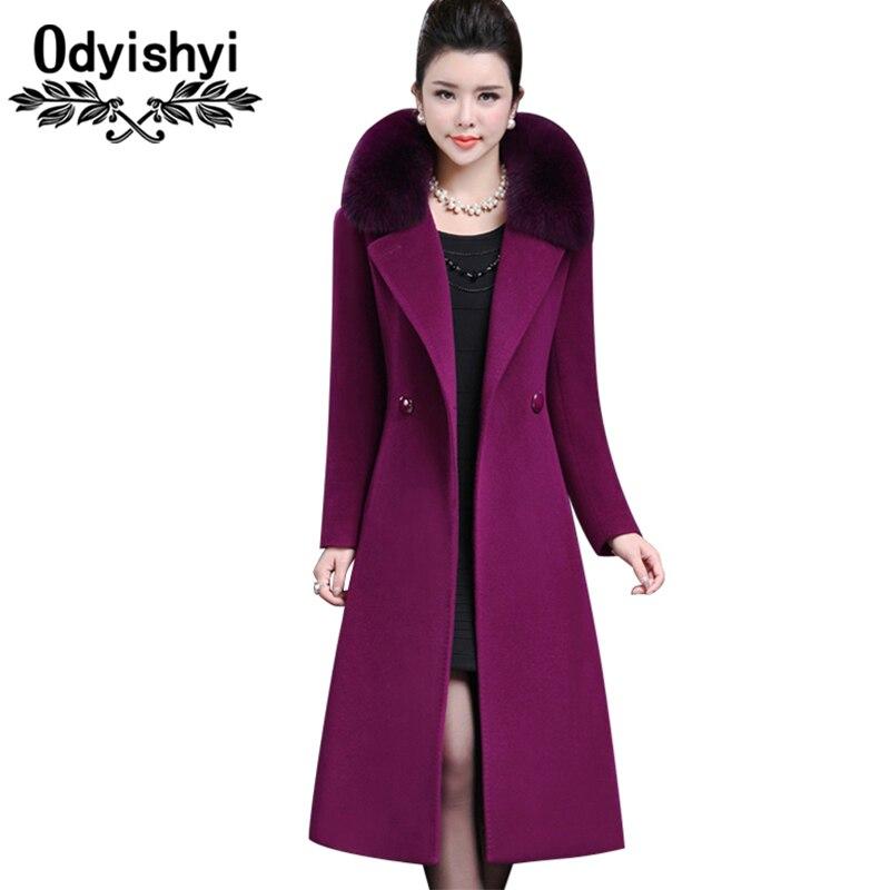 2019 chaqueta de lana con cuello de piel de zorro gruesa Otoño Invierno para mujer HS121-in Lana y mezclas from Ropa de mujer    1