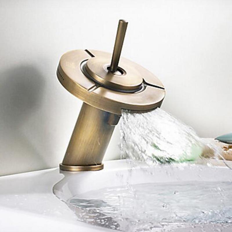 BAKALA US FreeShipping Antique Brass Creative Three Gear Bathroom Basin Sink Faucet Vintage Single Handle Mixer Tap Deck Mounted antique brass three holes bathroom sink basin faucet mixer tap dual handle