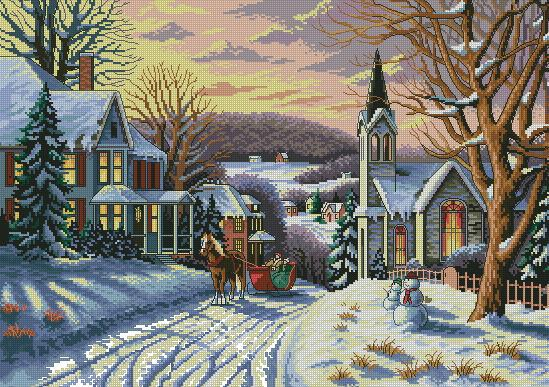 Top Quality Beautiful Lovely Counted Cross Stitch Kit Wintry Eve Winter Snow Christmas Sleigh Carriage Dim 03854
