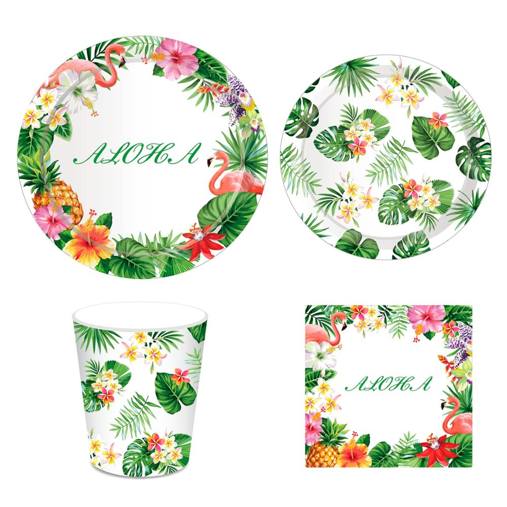 PATIMATE Hawaiian Party Decorations Artificial Flowers Palm Leaves Bunting Banner Luau Flamingo Summer Tropical Party Decoration in Party DIY Decorations from Home Garden