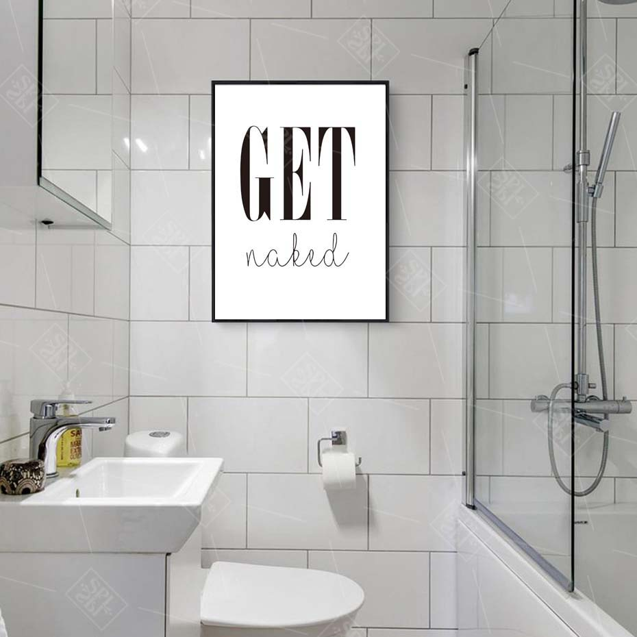 Image 3 - Get Naked Poster&Prints Toilet Life Quote Modular Wall Art Wall Picture For Bathroom Modern Canvas Painting Washroom Home Decor-in Painting & Calligraphy from Home & Garden