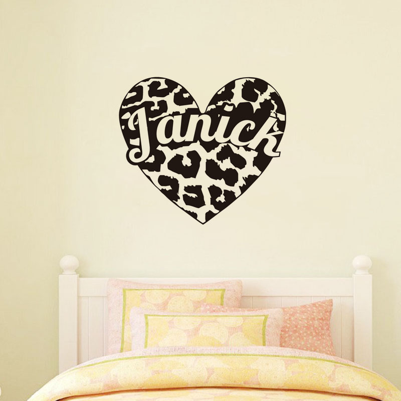 Customized Name Leopard Print Heart Wall Decals Stickers Vinyl Art Design  Removable Adhesive Wallpaper Waterproof(
