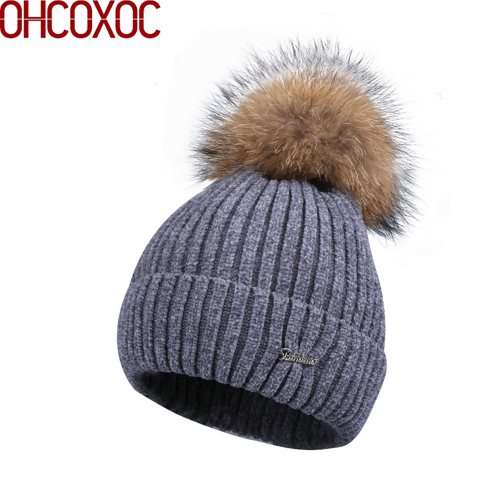 women new Chenille beanies real fox pompons winter hats soft yarn high  quality warmer knitted striped 9b992db685bb