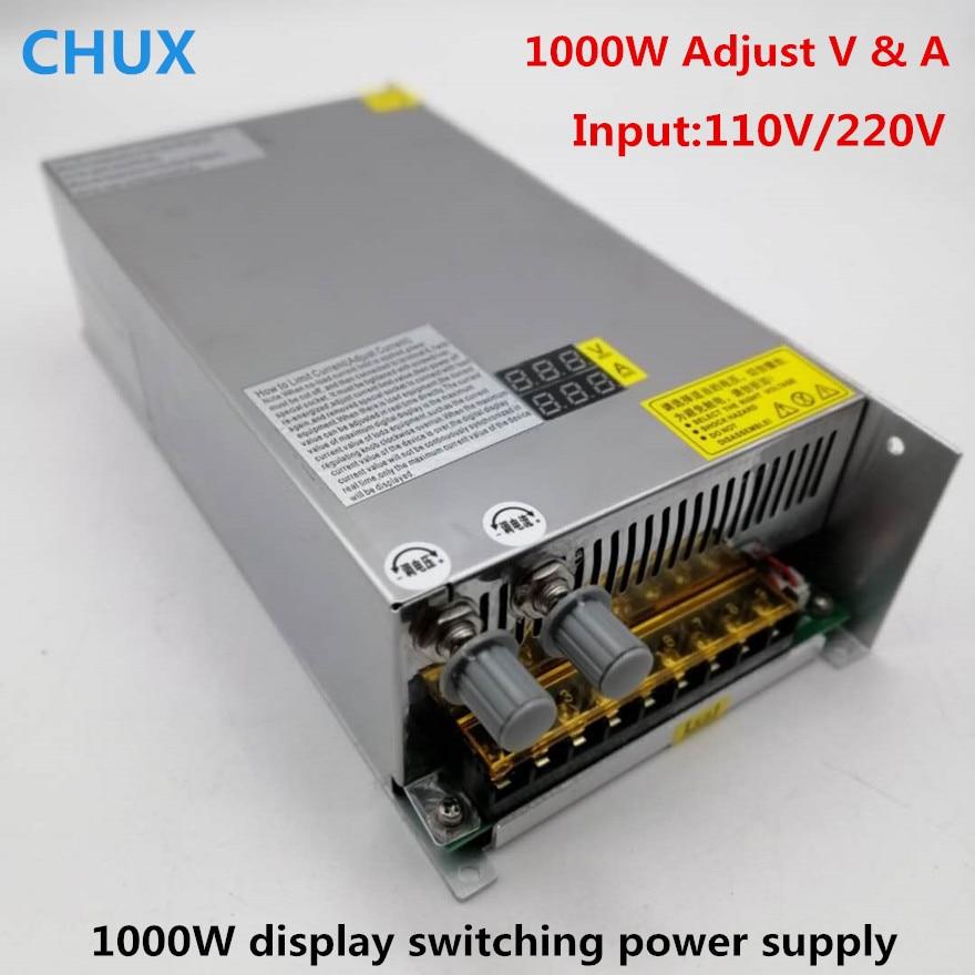 1000W Switching Power Supply Digital display Adjustable DC 0 12v 24v 36v 48v 60V 80V 120V