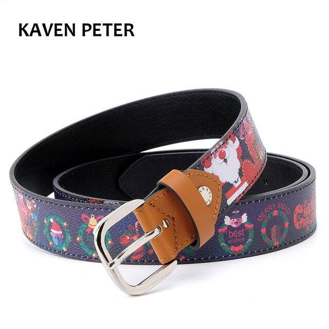 man christmas belt print christmas pattern silk screen santa claus belts fashion men pu belt - Santa Claus Belt
