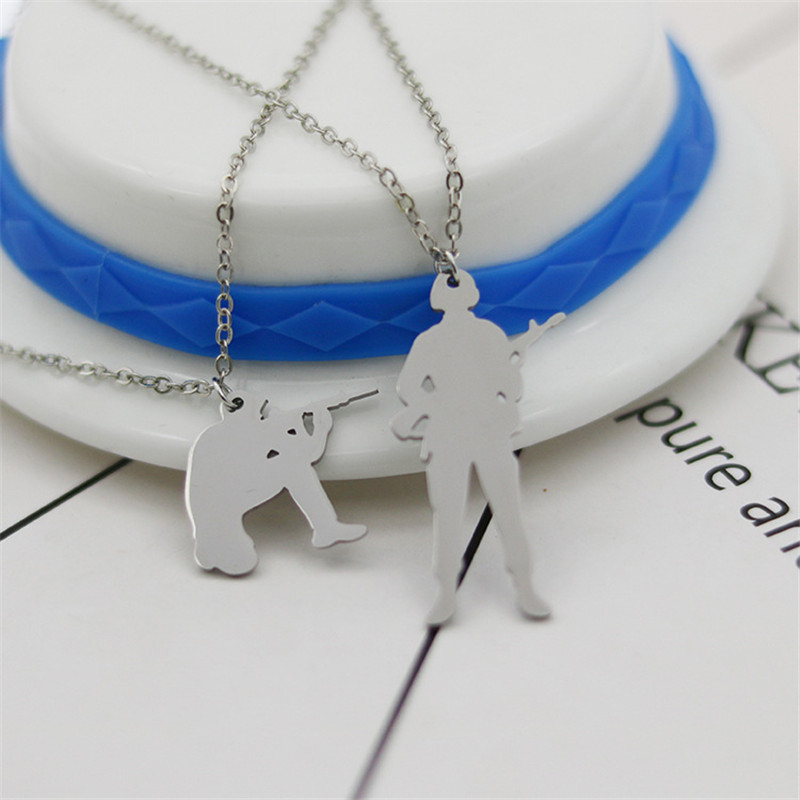 Wholesale Trendy Soldier Necklace Stainless Steel Hip-hop Gun Pendant Necklace Women Fashion Warrior Jewellery Gift 12pcs/lot