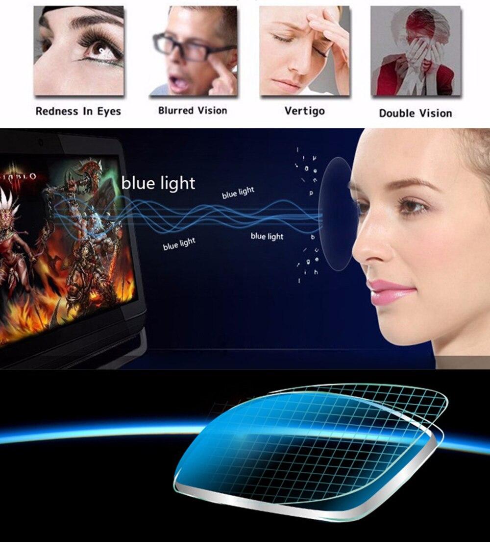 Eyewear Square Gaming Computer Glasses Women Men Blue Semi-rimless Light Glasses Comfortable Blue Glasse (5)