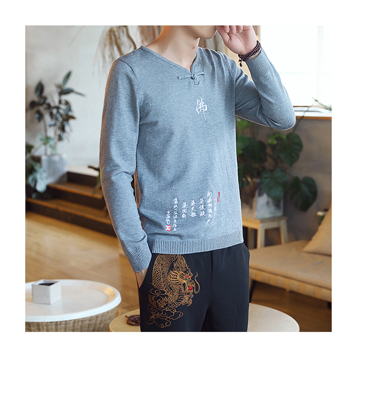 Chinese style Buddha embroidery Pull Homme Pullover Men spring autumn Casual sweater knit leisure Jersey Hombre Cotton v-neck 71