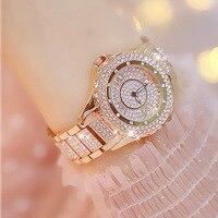 Hot Sale Women Full Diamond Rose Gold Luxury Watch Rose Gold Bracelet Stainless Steel Rhineston Wristwatch Female Crystal Watch