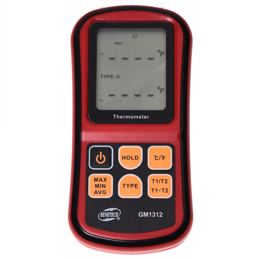 BENETECH Digital Thermometer Dual-channel Thermometer Tester Thermocouple K / J / T / E / R / S / N-LCD Backlight Red