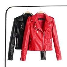 41ab3a546c21 2018 Automne Femmes PU En cuir Biker Vestes Mince Rouge veste Manteau  Zipper Plus Taille Survêtement Manteaux veste cuir femme Z..