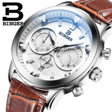 New Brand Binger Business unique wristwatches male quartz leather band strap watches calendar date Trendy retro watch gift